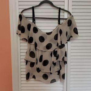 Cold shoulder polka dot blouse.